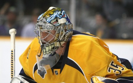 October 8, 2015: Nashville Predators goalie Pekka Rinne (35), of Finland, is shown during an NHL game between the Nashville Predators and the Carolina Hurricanes, held at Bridgestone Arena in Nashville, Tennessee. (Photo by Danny Murphy/Icon Sportswire)